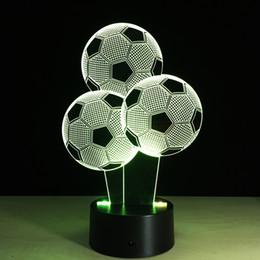 Wholesale Football Usb Optical Mouse - Footballs 3D Optical Illusion Lamp Night Light DC 5V USB Charging AA Battery Wholesale Dropshipping Free Shipping