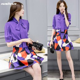 Wholesale Purple Work Dress - 0231 - Cheapest Price 2016 Summer 1 2 Sleeve O Neck Bust Button Chiffon Fabric 2pcs Top with Skirt OL Working Dress Office Dress