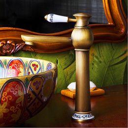 Wholesale Ceramic Art Basin - Archaize ceramic art leading basin of hot and cold water tap Copper valve core faucet restoring ancient ways European archaize faucet