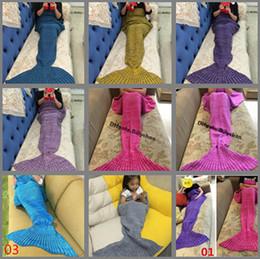 Wholesale Cartoon Sleeping Bags - Blanket Kintted Mermaid Blankets 180*90cm Sleeping bags Handmade Crochet Mermaid Tail Blankets Cartoon Blankets Mermaid Sleeping Bags D634 2
