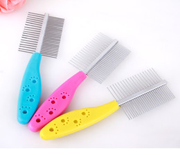 Wholesale Teeth Cleaning Accessories - Dog Grooming Stainless Steel Anti-static Pets Hair Grooming Two-sized Dense Comb Tooth Slicker Brush For Dogs