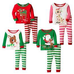 Wholesale Christmas Nightwear Children - christmas stripe pajamas reindeer santa claus Sleepwear Full Sleeve Nightwear Children Christmas Clothing Kids outfits set free shipping