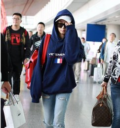 Wholesale Couture Hoodie - 2017 Unisex Winter Autumn Fashion Vetements Oversized Embroidery France Flag Hip Hop Hooded Haute Couture Sweatshirts Long Sleeve Hoodie