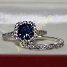 Wholesale 925 Silver Jewelry Blue Ring - Lady's 925 Sterling Silver Round Blue Sapphire Wedding Band Ring Set Brand Jewelry for Women