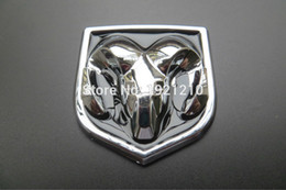 Wholesale Car Bonnets - 2PCS LOT CAR STYLING 3D ABS Emblem Logo Front Rear Stickers Hood Trunk BOOT BONNET Badge Sheepshead Sticker for Dodge car styling