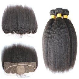 Wholesale Coarse Yaki Lace - 13*4 Ear To Ear Silk Base Lace Frontal Closure With Bundles Brazilian Kinky Straight Virgin Hair Weave Bundles With Frontal Coarse Yaki Hair
