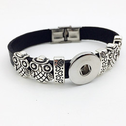 vrai hibou Promotion Mode Real Direct Selling Pave Réglage One Direction Bracelet Owl Retro en cuir Snap bouton Bracelet BT111 (adapter 18mm 20mm Snaps) dre du parti