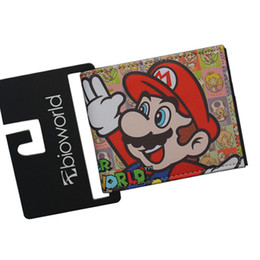 Wholesale Games Cute - Wholesale- Cute Game of SUPER MARIO WORLD Wallets Men Women Purse Boys Girls Money Card Bag Student Prints Leather Children Short Bifold