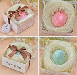Wholesale Baby Shower Favors Bird - New Blue Bird Egg Soap White Hay Nest Wedding Baby Shower Favor Wedding Gifts For Bridemaids Party Favors Supplies Wedding Favors 2326