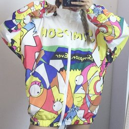 Wholesale Harajuku Style Graffiti Cartoon Printed Baseball Women Jacket Autumn Long Sleeved Thin Sports Outerwear Coat Couple