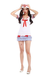 Wholesale Sailor White Uniform - New Adult Sexy Sailor Costume 5Pcs Lot By DHL Cosplay Halloween Bow White Women Dress Uniform Temptation Club Party Clothing Hot Selling