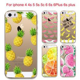 Wholesale Iphone 5c Soft Transparent - Hot Fruit Pineapple Lemon Banana Soft Silicon Transparent Case Cover For Apple iPhone 5 5S SE 5C 6 6S 6Plus 7Plus Coque