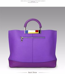 Wholesale Easy Tone - Metal Large Tote Bags Purple European Brand Designr Real Leather Women Handbags Roomy Big to Holder Laptop Easy