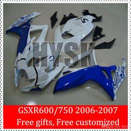 Wholesale Suzuki Motorcycle Racing Parts - Motorcycle Parts Of 2006 2007 Suzuki GSXR600 GSXR750 06 07 GSXR 600 GSXR 750 k6 Blue White Race Bike Bodywork GSX R750 R600 Fairing Kits