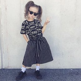 Wholesale Loose Sleeve Shirt Outfit - Girls letters printing outfits 2pc set love happy peace printing short sleeve T shirt+striped loose pants fashion wide-leg pants sets 3-7T