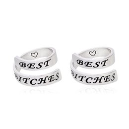 Wholesale Bitch Gifts - 2pcs set Love Heart BEST BITCHES Spiral Ring Set Hand Stamped Ring Women Men Friend Silver Fashion Friendship Jewelry BFF Gift