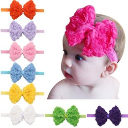 Wholesale Multi Layer Flower Headband - Fashion baby girls headbands Bow Europe Double Layer bowknot Chiffon headbands Kids Flower Hairbands Children Hair Accessories KHA147