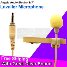 Wholesale Screw Computer - 3.5mm Screw Thread Plug Connector Flesh Skin Color Lavalier Microphone Tie Clip Lapel Mic For FM Wireless Microphone Bodypack Transmitter