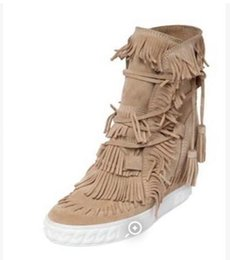 Wholesale Ladies Pink Suede Boots - Wedge Suede Fringed Women Ankle Booties Lace Up Tassel Height Increasing Lady Short Boots Spring Autumn Heels Casual Shoes
