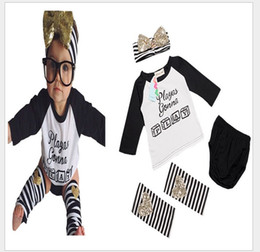 Wholesale Girls Legging Top Sets - 4 Pcs Set 2016 New Autumn Baby Girls Letters Printed Long Sleeve T-shirt Tops+Shorts+Striped Leg Warmers+Headband Kids Suits Girl Outfits