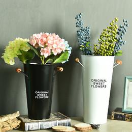 Wholesale Sweet Packing - 3PCS-PACK Original Sweet Flowers Iron Flower Barrels Pastoral Style Candy color Large Tin Vase Desktop Garden Pots Planters Buckets