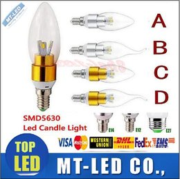 Wholesale E14 Smd Dimmable - X30 High power 6W 500lm Led smd 5730 candle Bulb E14 E12 E27 85-265V LED Dimmable chandelier led light chandeliers lamp lighting spotlight