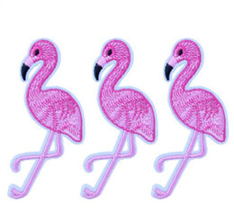 Wholesale Pink Iron Patches - 10PCS Pink Flamingo Bird Animal Embroidered Patch Iron On Patches Applique Sewing Fabric Badge Stickers Accessories