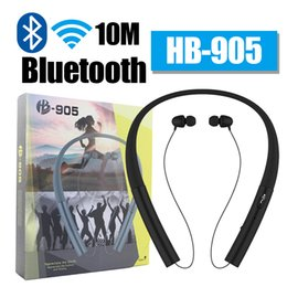 Wholesale Retractable Bluetooth - 2017 HB-905 HB905 Wireless Bluetooth Headphones CSR 4.0 HB 905 Bluetooth Headset Stereo Retractable Earbuds for iphone 7 plus lg samsung