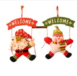 Wholesale Indoor Wreaths - Snowman and Santa Christmas decorations Christmas wreath Christmas door hanging Christmas wreath Plate door hanging decoration CT16