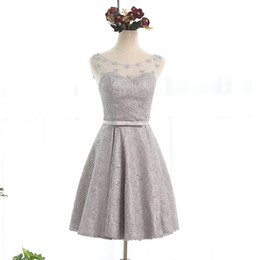 Wholesale Fast Pictures - Scoop Neck Lace Short Cocktail Dresses With Bow Knee Length Party Dress Lace Up Fast Shipping