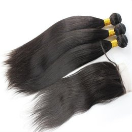 Wholesale Top Hair Hairpieces - 1pc free part italian yaki lace top closures hairpiece 4x4 bleached konts with 3pcs malaysian light yaki straight human hair bundles