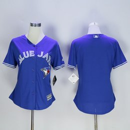 Wholesale Women Blank Tops - Top Quality ! Cheap Women Toronto Blue Jays Jerseys No Name Number Blank Jerseys White Ladies Stitched Baseball Jerseys Embroidery Logos