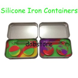 Wholesale Waxing Iron - Wholesale Iron Case 3mL 5mL 7mL 10mL Non-stick Silicone Jar Dab Wax Containers For Wax Silicone Jars Concentrate Case Free Shipping DHL