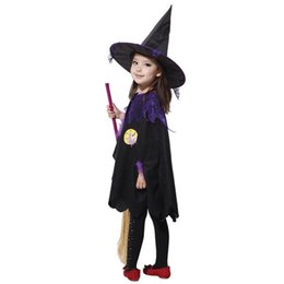 Wholesale Children Stage Shows - 2015 New coming Children girls Halloween cosplay costume performance clothing cute female Magician Witch purple dress clothes show A070144