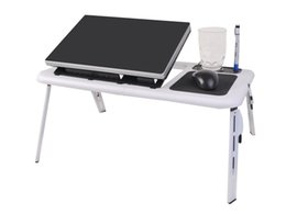 Wholesale Modern Living Bedding - Foldable Laptop Table Tray Desk W Cooling Fan Tablet Desk Stand Bed Sofa Couch