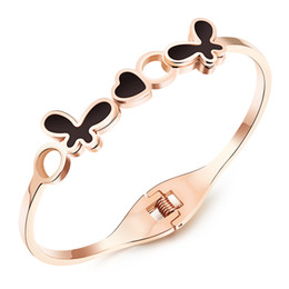 Wholesale Butterfly Womens Ring - Newest 2016 Womens Stainless Steel Heart & Butterfly Cuff Bangles Rose Gold Plated Fashion Charm Bracelet Women Jewelry KMGH839
