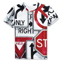 Wholesale Traffic Sign Printing - 2017 fashion T-shirt Men or Women 3d Tshirt Print Creative traffic signs indicator hot style Creative Short Sleeve casual T shirt