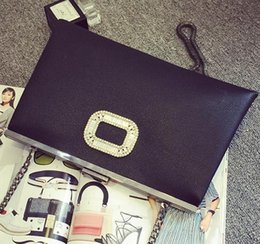 Wholesale Elegant Evening Clutch Bags - Wholesale-Elegant luxury diamond fashion design classic wedding dinner party evening bag clutch purse bag chain shoulder messenger bag