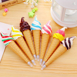 Wholesale Kawaii Magnets - Children stationery Novelty Kawaii Ice Cream Ballpoint Pen with Refrigerator Magnet Kids Toy back to School Office Supplies