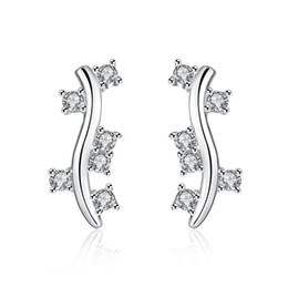 Wholesale Sterling Silver Sexy Earrings - New Arrival! Sexy Jewelry 925 Sterling Silver Stud Earrings Wholesale Diamond White Gemstones Earings For Fashion