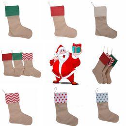 Wholesale Gift Christmas Xmas - 30*45cm Canvas Christmas Stocking Christmas Gift Bag Stocking Christmas Tree Decoration Socks Xmas Stockings 9 Styles 120pcs OOA2537