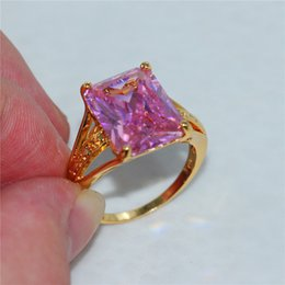 Wholesale Amethyst Ring 11 - Big Radiant-cut 15ct Pink Amethyst 18K Yellow Gold Filled Ring Size 8-11 for Men