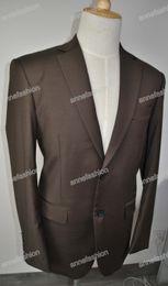 Tailleur nero su misura colore marrone scuro italia 140's 100% pura lana su misura per uomo (giacca + pantaloni) da