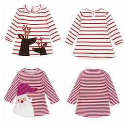 Wholesale Girls Full Skirt Dresses - INS Girls Xmas Dresses Xmas Princess Dresses Stripe Long Sleeve Baby Skirt Christmas Party Cosplay Costume Santa Claus Elk Printing DH153