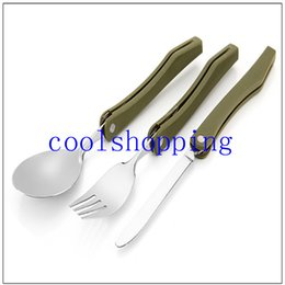 Wholesale Green Dinnerware Sets - Portable Folding Camping Tool Stainless steel outdoor tableware Folding Fork Spoon Knife Picnic Western Dinnerware Camping Set