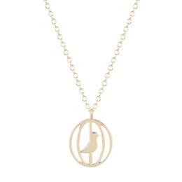 Wholesale Bird Cage Pendant Charm - 10pcs lot Original Jewelry Tattoo Choker Unique Chain Silver Gold Tiny Cute Bird in Cage Charm Necklace Pendant for Women