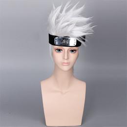 Wholesale Naruto Cosplay Hair - 10pcs DHL Free NARUTO Hatake Kakashi Cosplay Wigs Exclude Headwear Halloween Silver White Short Hair Synthetic Anime Cosplay Wig