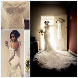 Wholesale Tulle Fishtail Wedding Dresses - Elegant Chapel Train Lace Mermaid Wedding Dress Pearl Sweetheart Bridal Gowns 2017 Tulle Fishtail vestidos Custom Made