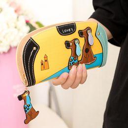 Wholesale Fashion Dog Bags - Cartoon dog women purse bag designer wallets famous brand women wallet long money clip dollar price zipper coin pockets