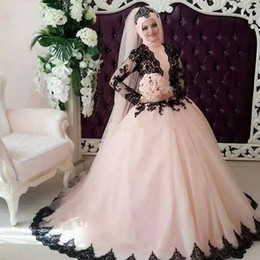 Wholesale Plus Size Pink Wedding Gowns - Vintage Muslim Pink Black Ball Gown Wedding Dresses High Neck With Long Sleeves Court Train Plus Size Arabic Bridal Gowns
